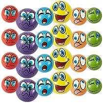 Set of 24 Emoji Face Foam Soft Stress Novelty Toy Balls (2.5