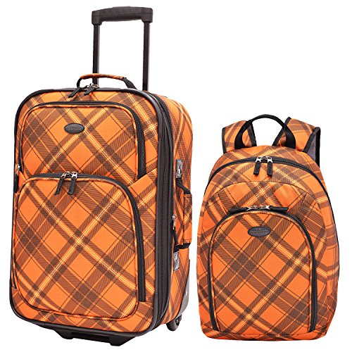 traverlers-choice-us-traveler-contrast-plaid-2-piece-luggage-set-orange-one-size
