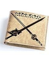 Xcoser Sword Art Anime Online Wallet Double Swords Pattern Brown PU Wallet Cosplay
