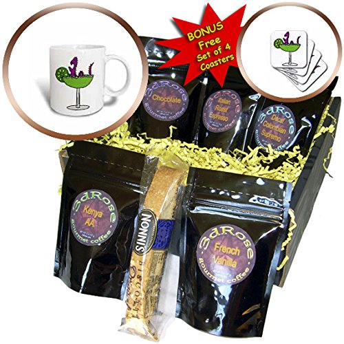All Smiles Art at the Beach - Funny Purple Loch Ness Monster in Margarita Glass - Coffee Gift Baskets - Coffee Gift Basket (cgb_240627_1) (Ness Espresso compare prices)