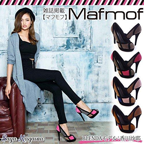(マフモフ)Mafmof ブラックラインが綺麗なスエード美脚パンプス LL グレー・グレー