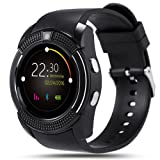 Bluetooth Smart Watch,Wrist Watch Bracelet with SIM Card Slot Camera Phone Calls Pedometer Music Playing Alarm Clock Smartwatch for Android Phone (Black) (Color: Black)