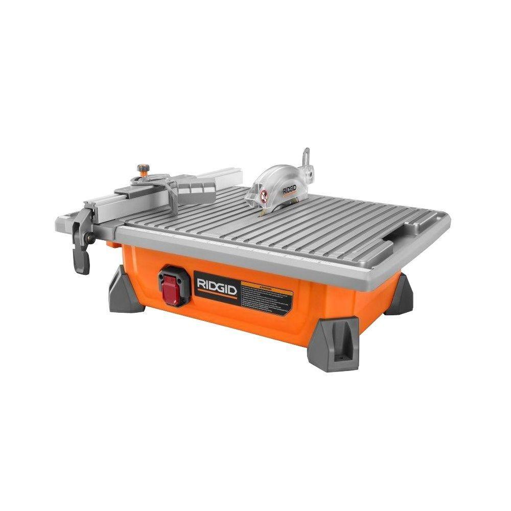 "RIDGID 7"" Portable Job Site Wet Tile Saw 6.5 Amp Induction Motor Power"