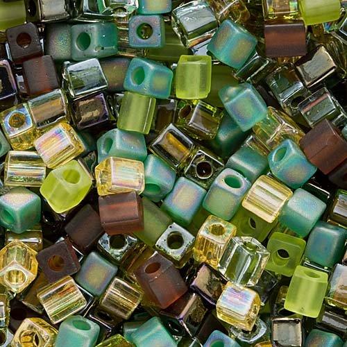 Miyuki Bead 4mm Cube Mix 10 grams EARTHTONE