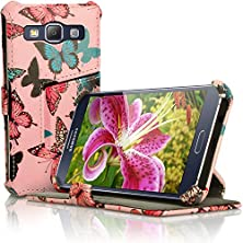 buy Igadgitz 'Designer Collection' Folio Butterfly Pattern Pu Leather Case Cover For Samsung Galaxy A3 Sm-A300F With Multi-Angle Viewing Stand + Auto Sleep Wake + Screen Protector
