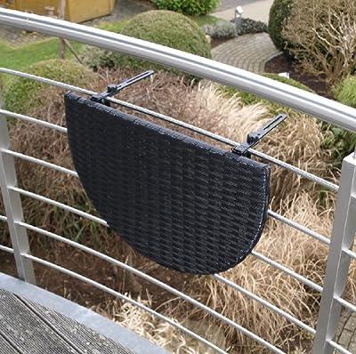 Balkonhängetisch 60x40cm, Metall + Polyrattan schwarz von gartenmoebel-einkauf auf Gartenmöbel von Du und Dein Garten