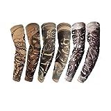 6 Pcs Temporary Tattoo Sleeves Arm Sunscreen Stockings Accessories Fake Temporary Tattoo Sleeves, Skeletons,Skulls Pattern (6 pcs Type-2) (Color: 6 pcs Type-2)