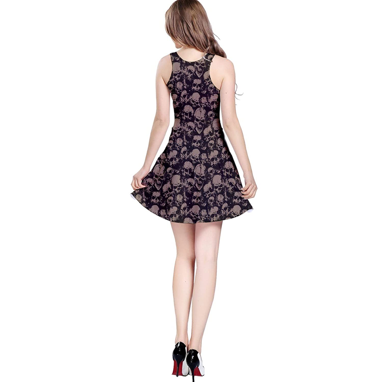 Black Grunge Pattern with Skulls Illustration Sleeveless Skater Dress | Amazon.com