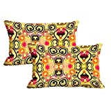 MeSleep Beige Pattern Set Of 2 Pc Cushion Cover -Size(12x18)