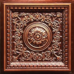 "Drop Ceiling Tile Glue & Grid 0vc-2 Faux Antique Copper Plastic, Cheap, 24""x 24"" PVC 3 Dimension,depth 1"" Glue On,tape on Over Wainscoat, Sheet Rock.pvc.class ""A"" Fire Rated."