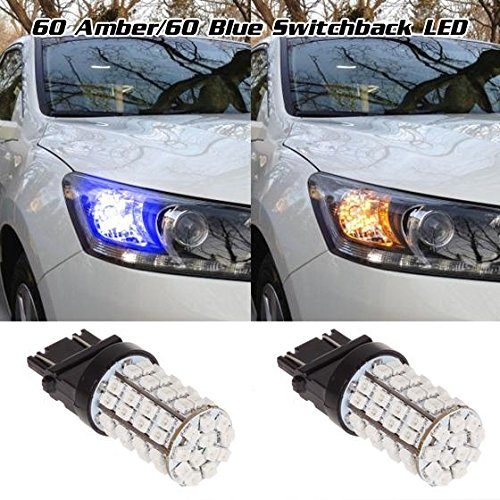 Partsam 1Pair 3157 3156 3155 4157 Blue Amber/Yellow Switchback Front Turn Signal Light 60-Epistar-SMD Dual Chip Turn Signal Light Led (2000 Tahoe Front Lights compare prices)