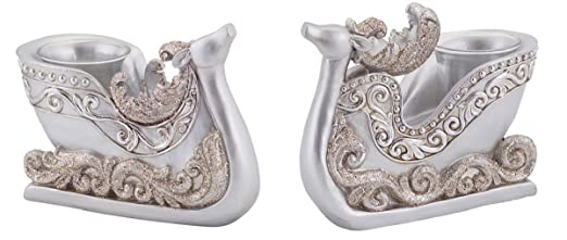 Ornate Decorative Silver Polystone Reindeer Sleigh Christmas Tea Light Candle Holders - Set of 2 by Melrose