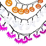 Icicle 3 Sets Halloween Jack-O-Lantern String Lights, Icicle 9.3ft 20 LED Battery-Powered Decoration Lights for Indoor Outdoor, Halloween, Party (White Ghosts, Orange Pumpkins, Purple Bats)
