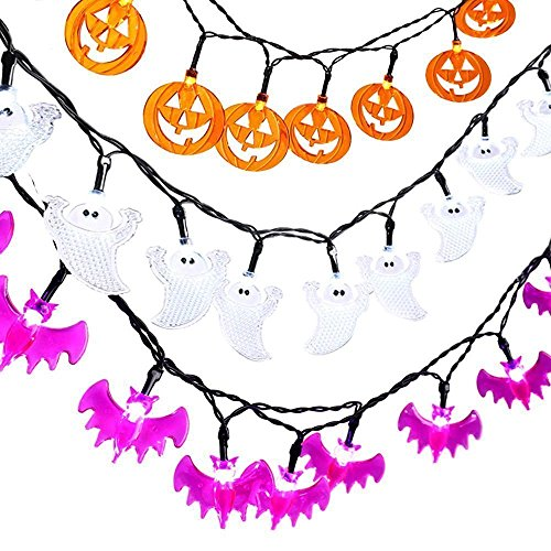 3 Sets Halloween Jack-O-Lantern String Lights, Icicle 9.3ft 20 LED Battery-Powered Decoration Lights for Indoor/Outdoor, Halloween, Party (White Ghosts, Orange Pumpkins, Purple Bats)