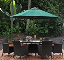 Hot Sale Hudson Outdoor Patio Resin Wicker 7 Piece Rectangle Dining Table Set Sunbrella Cushions