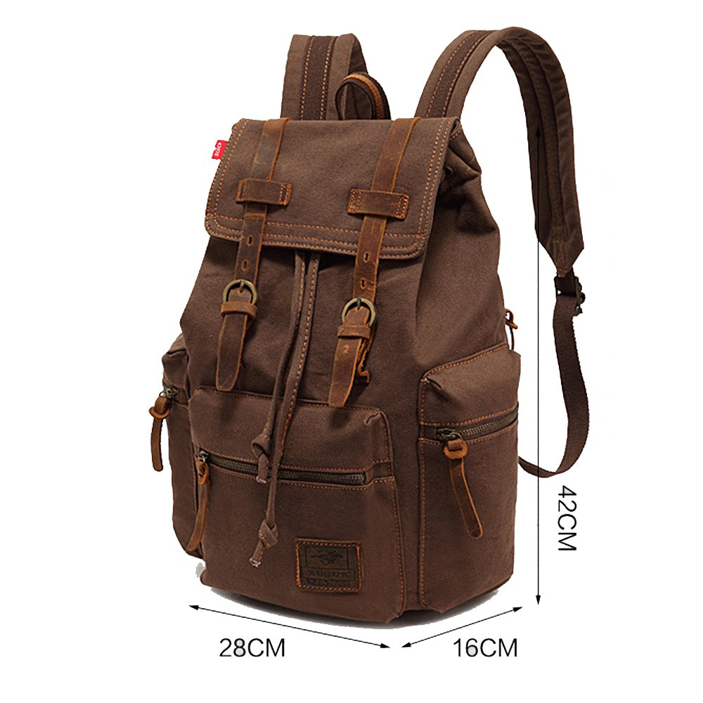 DAKIA High Quality Vintage Men Casual Canvas Backpack Rucksack School Bag Hiking Backpack women bts backpack high quality youth leather backpacks for teens girls female school shoulder bag mochila rucksack