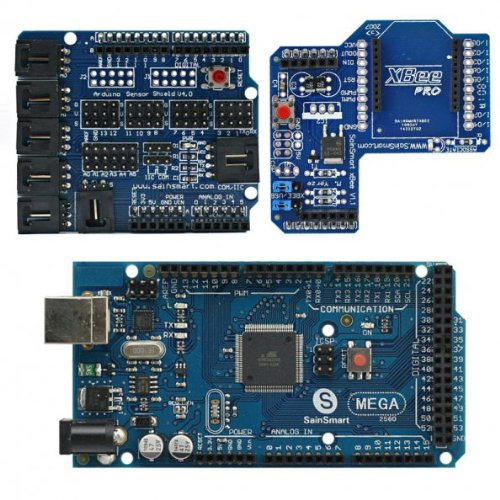 Sainsmart Mega, Atmega2560 + Sainsmart Sensor Shield V4 + Sainsmart Xbee Shield For Arduino Uno Mega Duemilanove