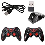 Fucung 1pcs T3 Wireless Bluetooth 3.0 Gamepad Game Controller + Holder Bracket + Bluetooth Receiver For Android Phone, Gaming Remote Control for phone PC Tablet TV Box (Color: Black, Red)