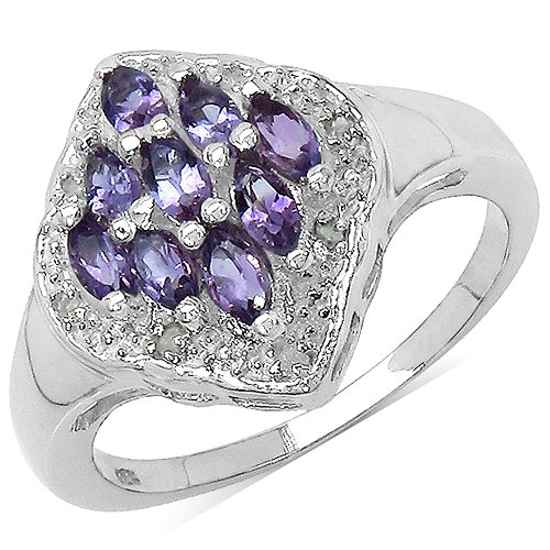 The Amethyst Ring Collection: Ladies Sterling Silver Amethyst & Diamond Engagement Ring with 0.67 Carats Genuine Amethyst & 8 Diamonds (Size P). Comes in a Quality Ring Case for that Special Gift.
