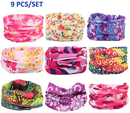 Kalily Oringinal Pack of 9pcs Headband Bandana Protective Multi-use Seamless Breathable Neck and Head Tube Gaiter