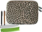 ColorYourLife Bundle of Canvas Fabric Leopard Print Laptop Sleeve Case Bag for iPad 2/3/4 Samsung GALAXY Note 10.1 (2014 Edition) 10-inch Tablet with 2 Stylus Pens and Microfiber Cleaning Cloths (Leopard print, 10 inch)