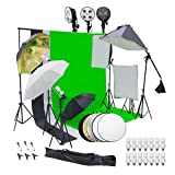 Wisamic Photography Video Studio Lighting Kit, Background Support System 10ft x 6.6ft/2MX3M with 3 Color Backdrop & Umbrella & Softbox, Continuous Lighting Kit for Photo Video Shooting Photography (Color: Silver)