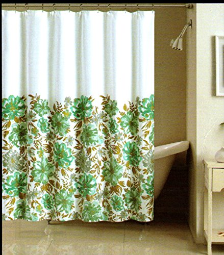 Nicole Miller Teal Flowers Fabric Shower Curtain Cotton Bland 72 Inch By  72 Inch Teal Gray Beige Gold White Shower Curtain