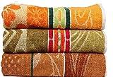 Casa Basics 400 GSM Set Of 3 Jacquard Large Bath Towels 68 X 137 cm- Yellow,Green & Brown