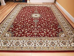 New Traditional Area Rugs 8x10 Medallion Flowers Red Cream Beige Persian Style Rugs For Living Room Rug, Large 8x11 Red Carpet