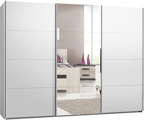 Schwebeturenschrank, Kleiderschrank, ca. 300 cm, Weiß mit Spiegel, Schiebeturenschrank