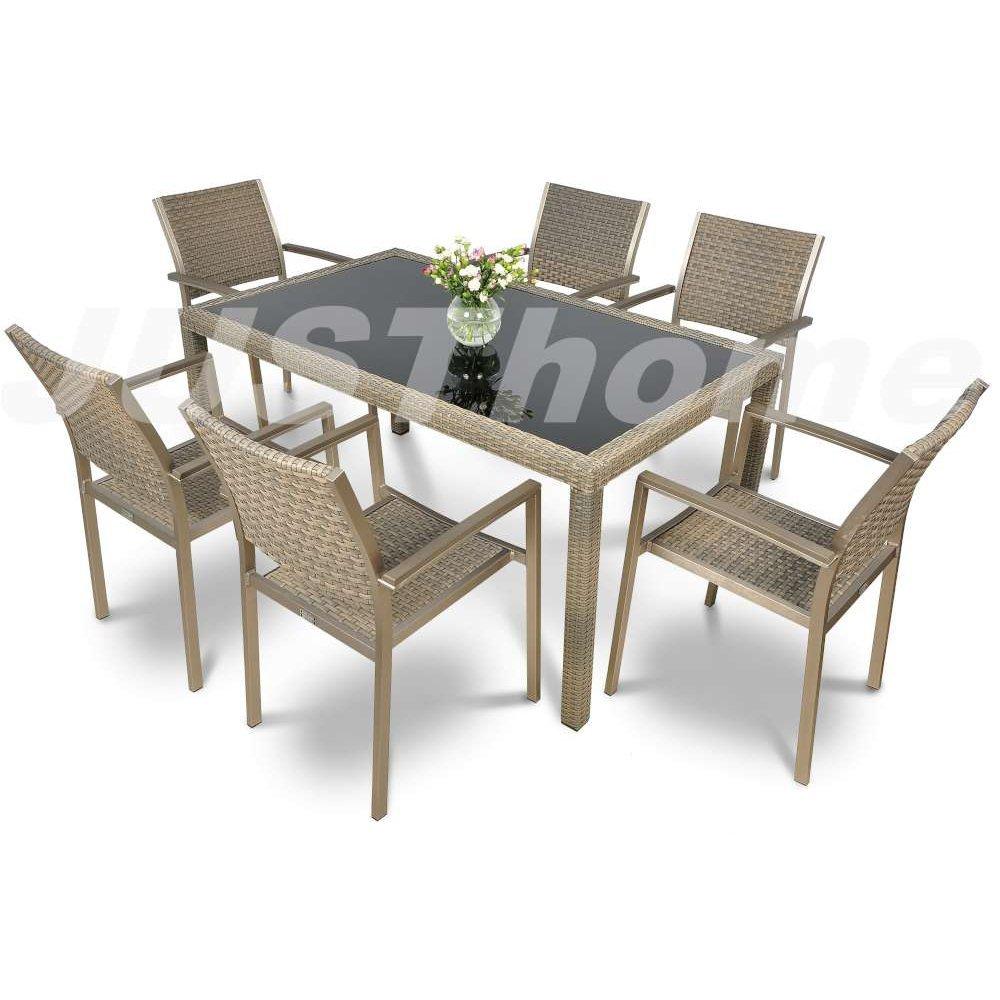 JUSThome Gartenmöbel Sitzgruppe Diana/Torino 6x Stuhl + Glastisch Farbe: Grau