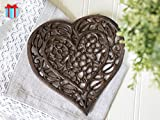 Cast Iron Heart Trivet | Decorative Cast Iron Trivet For Kitchen Or Dining Table | Vintage Design |6.75X6.5"