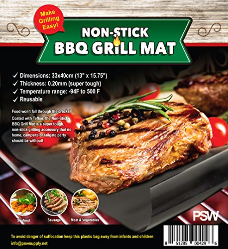 Buy Non-stick BBQ Grill Mat, Easy Clean, Reusable, Dishwasher Safe, Versatile, Use Indoor or Out, Su...
