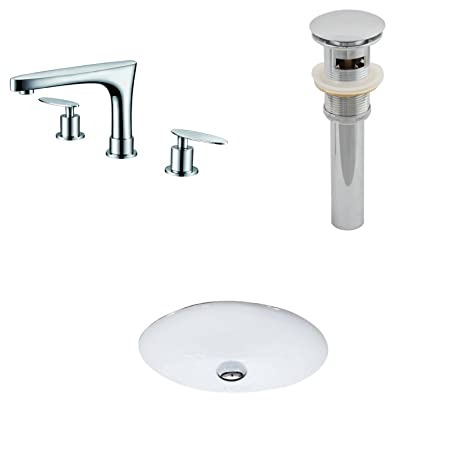 "Jade Bath JB-13231 19.5"" W x 16.25"" D CUPC Oval Undermount Sink Set with 8"" o.c. CUPC Faucet and Drain, White"