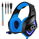 Gaming Headset with Mic for PS4,PC,Xbox One, Laptop Sound Clarity Noise Isolation LED Lights Headphone Soft Comfy EarPads with Volume Control Omnidirectional Microphone Gamer for Smartphone,Computer (Color: K1 Blue)