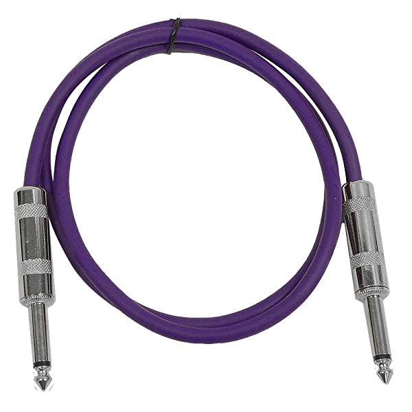 Seismic Audio - SASTSX-3 - 3 Foot TS 1/4 Guitar, Instrument, or Patch Cable Purple