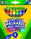 Crayola Washable Crayons, Large, 8 Colors Box (52-3280)