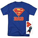 Popfunk Superman Superdad Logo for Fathers T Shirt & Exclusive Stickers (XXX-Large) (Color: A. Super Dad, Blue, Tamaño: 3X-Large)
