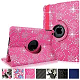 Cellularvilla Case for Apple iPad Mini 1 (2012) 7.9 Inch and iPad Mini 2 (2013 Edition) 7.9 Inch Retina Display Case 360 Degree Rotating Pink glitter Pu Leather Flip Folio Multi-Angle Stand Smart Case Cover Protector with Auto Wake/Sleep Feature