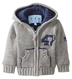 Wippette Baby Boys\' 47 Sweater Coat, Heather Grey, 12 Months