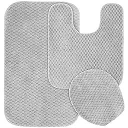Garland Rug 3-Piece Cabernet Nylon Washable Bathroom Rug Set, Platinum Gray