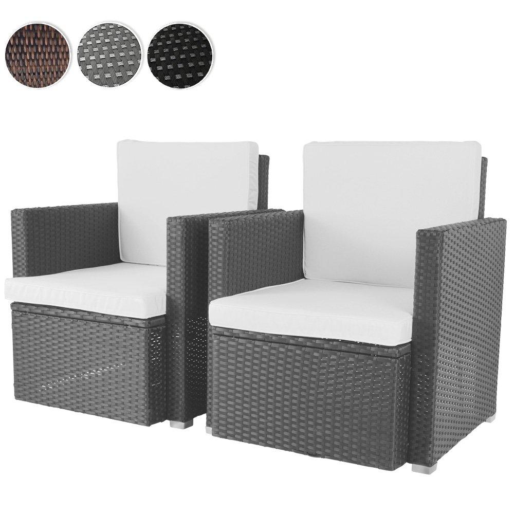 2er Set Loungesessel aus Polyrattan Gartenmöbel inkl. Sitzkissen -Farbwahl- schwarz, grau oder braun günstig bestellen