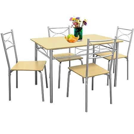 Esstisch und Stuhlset,GRAVOG 1 x Esstisch 112 x 70 + 4 Stuhlen Esszimmerstuhle Garnitur Stuhl Tisch Sitzgruppe Esszimmer Kuche (Buche)