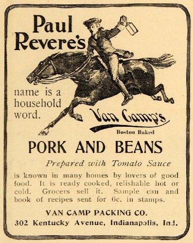 1899 Ad Van Camp'S Pork Beans Paul Revere Lantern Horse - Original Print Ad