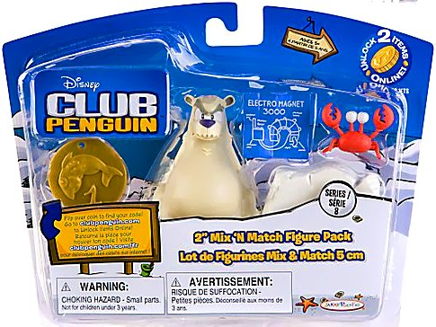Buy Low Price Jakks Pacific Disney Club Penguin Series 8 Mix N Match Mini Figure Pack Herbert P. Bear Esquire Klutzy the Crab Includes Coin with Code! (B003UNWVVU)