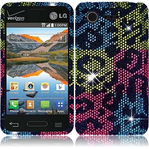 Exceptional Leopard Design Premium Hard Full Diamond Bling Case Cover Protector For Lg Optimus Zone 2 Vs415Pp (By Verizon) With Free Gift Reliable Accessory Pen