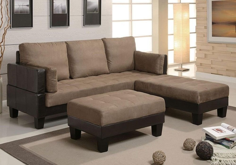 1PerfectChoice Fulton Contemporary Two Tone Tan Microfiber Convertible Sofa Couch Bed 2 Ottoman