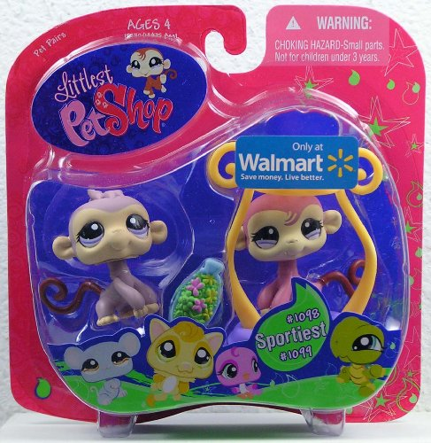 Picture of Hasbro Littlest Pet Shop Exclusive Sportiest Pet Pairs Figures Lilac Monkey and Brown Monkey with Flowers (B002KNAHOY) (Hasbro Action Figures)