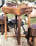 GROOVYSTUFF TF-0538-S Hill Country Chess Table, Natural Brown Finish