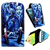 S3 Case,s3 flip Case, Lifetrut Brand Leather Case Flip Up-down Open Flip case with Card Slots for Samsung Galaxy S3 i9300 - Cool Wolves under the Moonlight Art Design , Sent Screen Protector + Stylus Pen